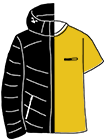 Tシャツとダウンジャケットのイラスト